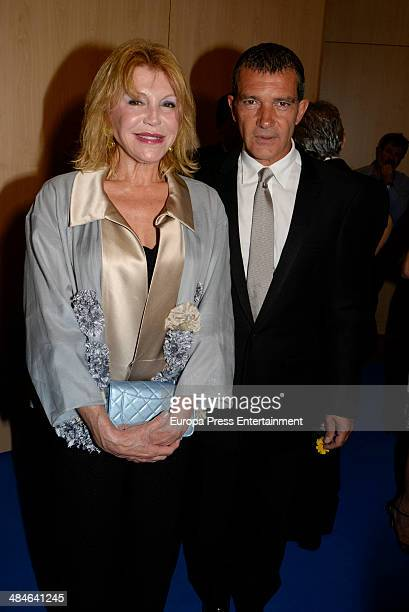 Antonio Banderas and Baroness Carmen ThyssenBornemisza attend Gala Dinner of Lagrimas and Favores Foundation during Holy Week celebration on April 11...