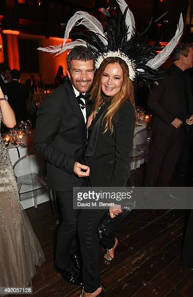 Antonio Banderas and Eva Cavalli attend Eva Cavalli's birthday dinner party at One Mayfair on October 9 2015 in London England