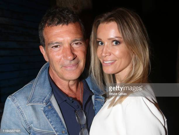 "Antonio Banderas and girlfriend Nicole Kimpel pose backstage at the hit musical ""Come From Away"" on Broadway at The Schoenfeld Theatre on June 6,..."
