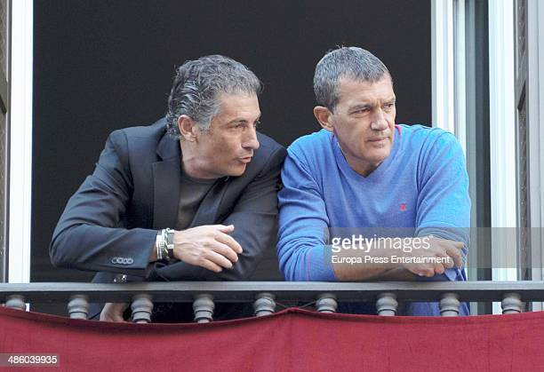 Antonio Banderas and his brother Javier Banderas attend procesion during Holy Week celebration on April 15 2014 in Malaga Spain