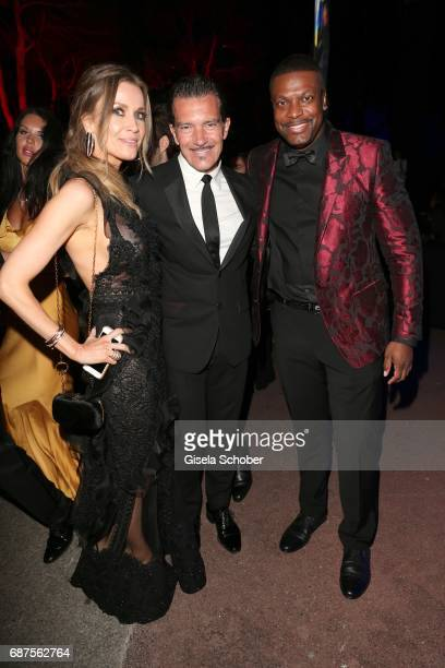 Antonio Banderas and his girlfriend Nicole Kimpel and Chris Tucker during the DeGrisogono 'Love On The Rocks' gala during the 70th annual Cannes Film...