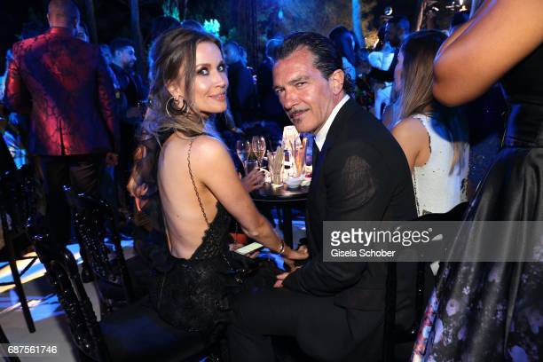 Antonio Banderas and his girlfriend Nicole Kimpel during the DeGrisogono Love On The Rocks gala during the 70th annual Cannes Film Festival at Hotel...