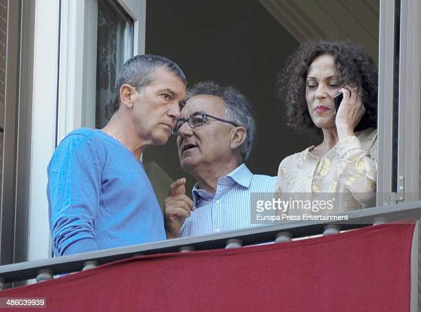 Antonio Banderas and his sisterinlaw attend procesion during Holy Week celebration on April 15 2014 in Malaga Spain