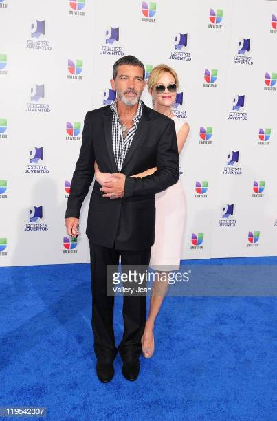 Antonio Banderas and Melanie Griffith arrive at Univisions 8th Annual Premios Juventud Awards at Bank United Center on July 21 2011 in Miami Florida
