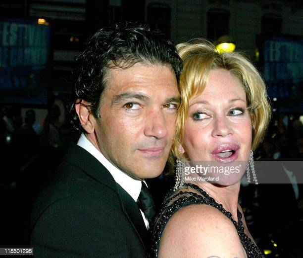 "Antonio Banderas and Melanie Griffith during 2004 Cannes Film Festival - ""Shrek 2"" - Premiere - Departures at Palais Du Festival in Cannes, France."