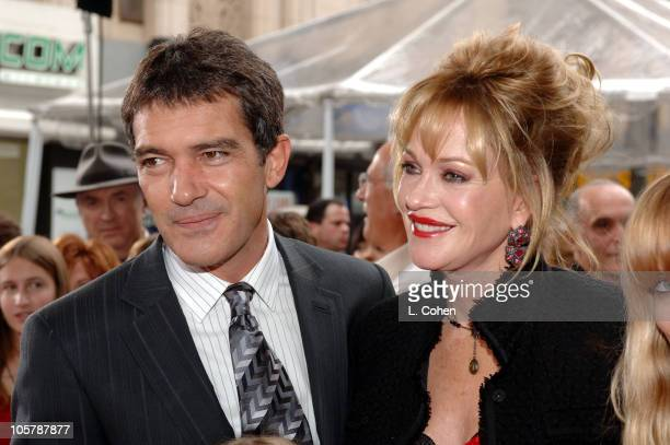 Antonio Banderas and Melanie Griffith during Columbia Pictures' 'The Legend of Zorro' Los Angeles Premiere Red Carpet at Orpheum Theatre in Los...