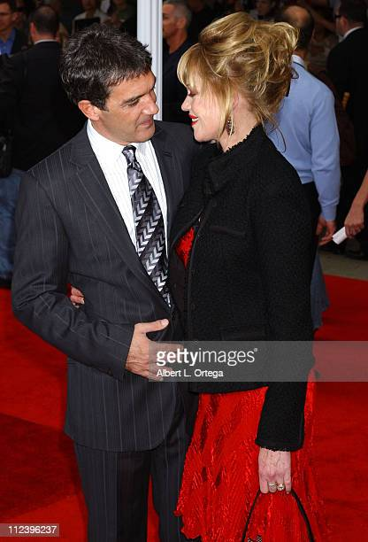 Antonio Banderas and Melanie Griffith during Columbia Pictures' 'The Legend of Zorro' Los Angeles Premiere Arrivals at Orpheum Theater in Los Angeles...