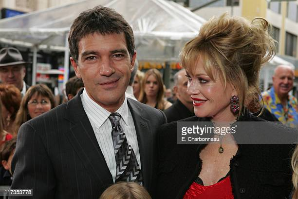 Antonio Banderas and Melanie Griffith during Columbia Pictures' 'The Legend of Zorro' Los Angeles Premiere at Orpheum Theater in Los Angeles...