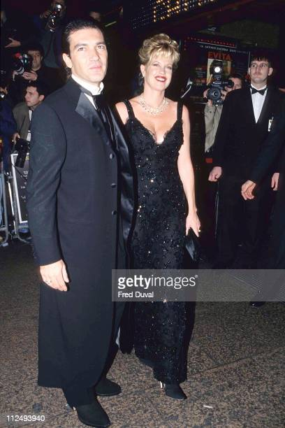 Antonio Banderas and Melanie Griffith during 'Evita' UK Film Premiere December 1 1996 at Leicester Square in London United Kingdom