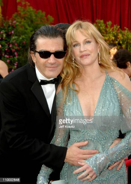 Antonio Banderas and Melanie Griffith during The 77th Annual Academy Awards - Arrivals at Kodak Theatre in Los Angeles, California, United States.