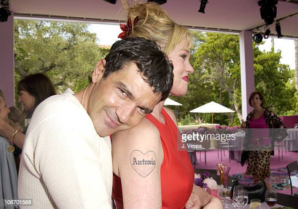 """Antonio Banderas and Melanie Griffith during Versace Luncheon to Benefit Children's Action Network-Westside Children's Center Sponsored By """"InStyle""""..."""