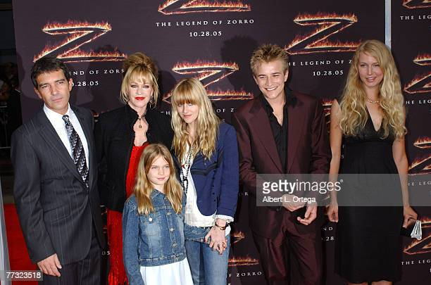 Antonio Banderas and Melanie Griffith with Stella Alexander Bauer Dakota Johnson and guest