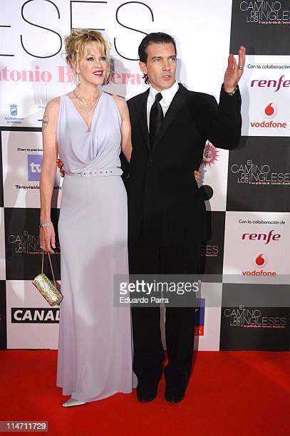 Antonio Banderas and Melanie Grifitth during The English Path Madrid Premiere November 30 2006 at Kinepolis Cinema in Madrid Spain