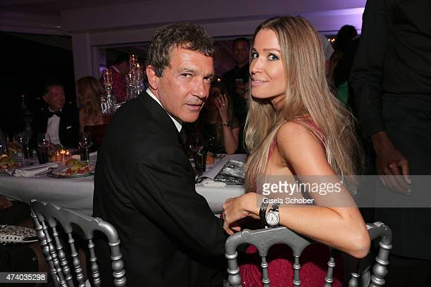 Antonio Banderas and Nicole Kempel attend the De Grisogono party during the 68th annual Cannes Film Festival on May 19 2015 in Cap d'Antibes France