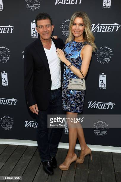 Antonio Banderas and Nicole Kempel attend the photocall for The Journey By The Land during the 72nd annual Cannes Film Festival on May 16 2019 in...