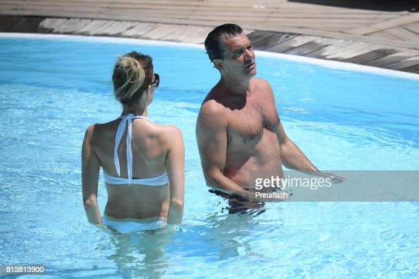 Antonio Banderas and Nicole Kimpe are seen on July 13 2017 in Ischia Italy
