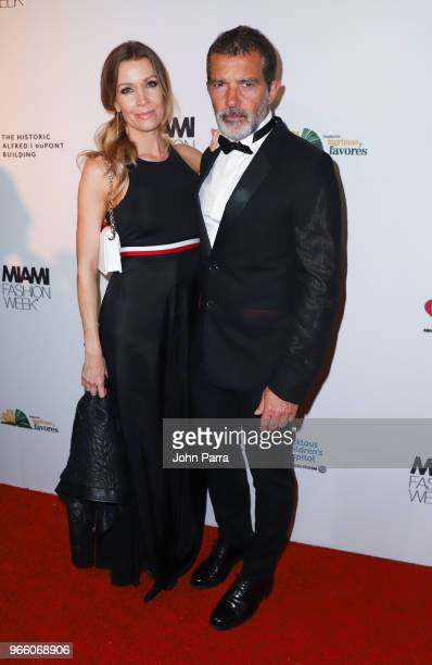 Antonio Banderas and Nicole Kimpel are seen at Miami Fashion Week 2018 Benefit Gala Inside at Alfred I Dupont Building on June 1 2018 in Miami Florida