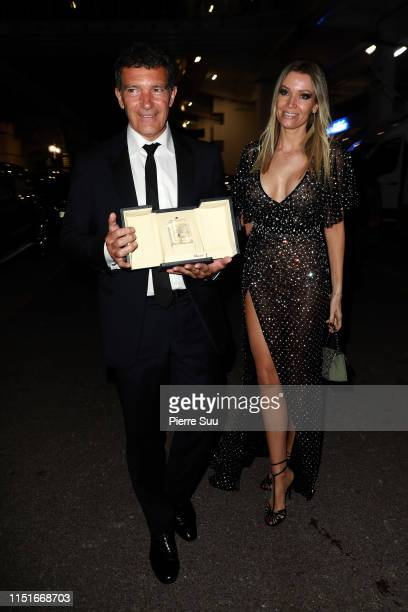 Antonio Banderas and Nicole Kimpel are seen at the Palais des Festivals during the 72nd annual Cannes Film Festival at on May 25 2019 in Cannes France
