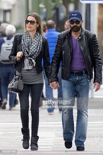 Antonio Banderas and Nicole Kimpel are seen on December 26 2015 in Malaga Spain