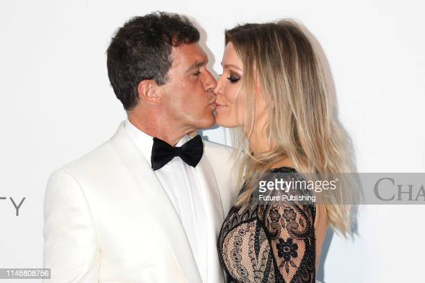 Antonio Banderas and Nicole Kimpel at the amfAR Cannes Gala 2019 at Hotel du CapEdenRoc on May 23 2019 in Cap d'Antibes France