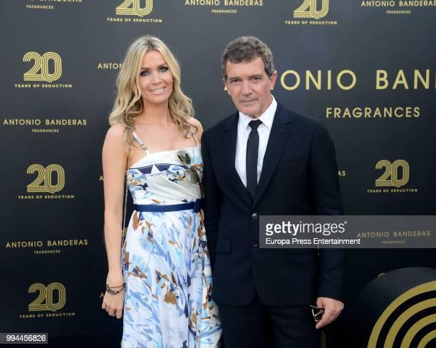 Antonio Banderas and Nicole Kimpel attend 20 years of Antonio Banderas's fragances party on July 7 2018 in Marbella Spain