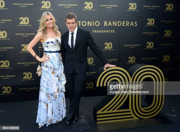 Antonio Banderas and Nicole Kimpel attend 20 years of Antonio Banderas's fragances party on July 7 2018 in Marbella Spain