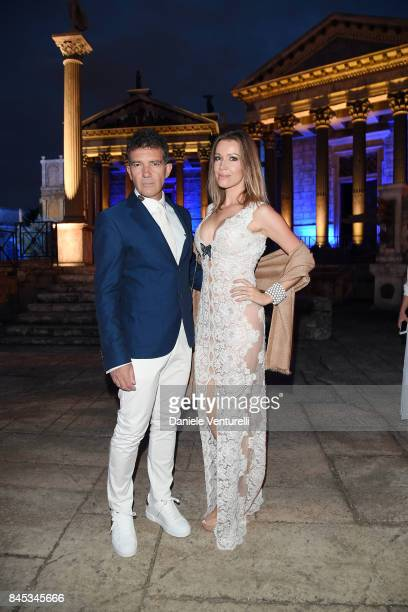 Antonio Banderas and Nicole Kempel attend Celebrity Fight Night on September 10 2017 in Rome Italy