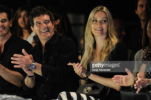 Antonio Banderas and Nicole Kimpel attend day 2 of Miami Fashion Week at Ice Palace on June 3 2016 in Miami Florida
