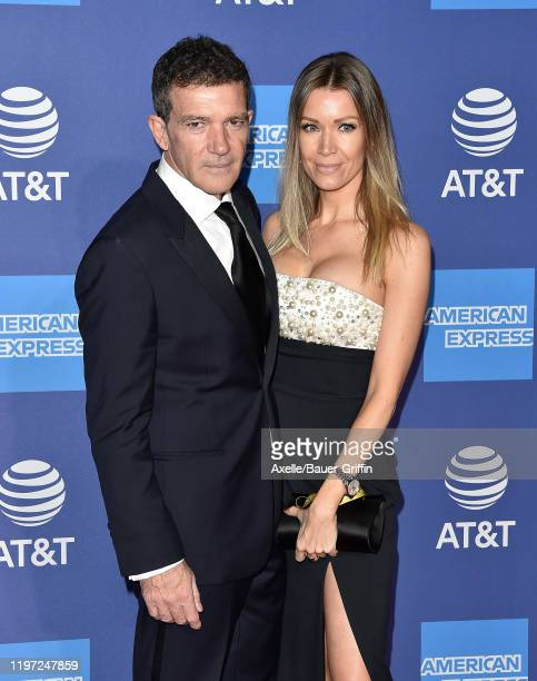 Antonio Banderas and Nicole Kimpel attend the 2020 Annual Palm Springs International Film Festival Film Awards Gala on January 02, 2020 in Palm...