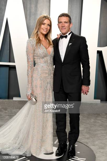 Antonio Banderas and Nicole Kimpel attend the 2020 Vanity Fair Oscar Party hosted by Radhika Jones at Wallis Annenberg Center for the Performing Arts...