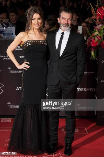 Antonio Banderas and Nicole Kimpel attend the 20th Malaga Film Festival closing ceremony at the Cervantes Teather on March 25 2017 in Malaga Spain