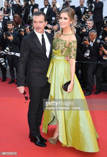 Antonio Banderas and Nicole Kimpel attend the 70th Anniversary of the 70th annual Cannes Film Festival at Palais des Festivals on May 23 2017 in...