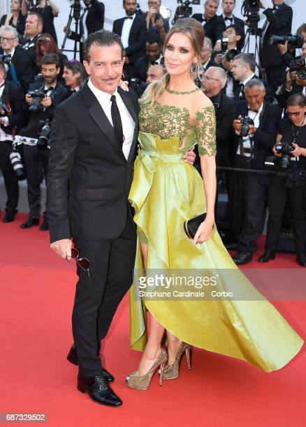 Antonio Banderas and Nicole Kimpel attend the 70th Anniversary of the 70th annual Cannes Film Festival at Palais des Festivals on May 23, 2017 in...