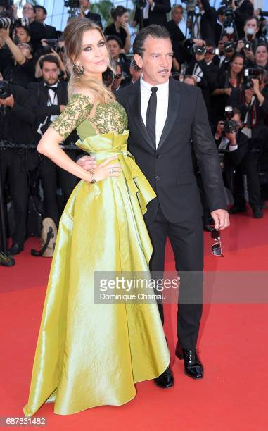 Antonio Banderas and Nicole Kempel attend the 70th Anniversary of the 70th annual Cannes Film Festival at Palais des Festivals on May 23 2017 in...