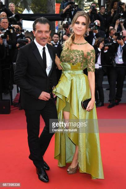 Antonio Banderas and Nicole Kimpel attend the 70th Anniversary screening during the 70th annual Cannes Film Festival at Palais des Festivals on May...