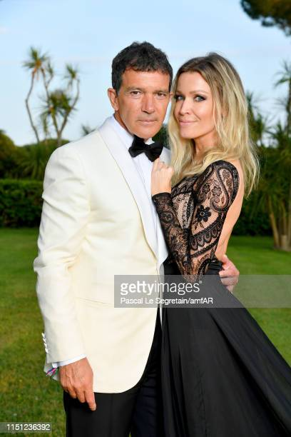 Antonio Banderas and Nicole Kimpel attend the amfAR Cannes Gala 2019 at Hotel du CapEdenRoc on May 23 2019 in Cap d'Antibes France