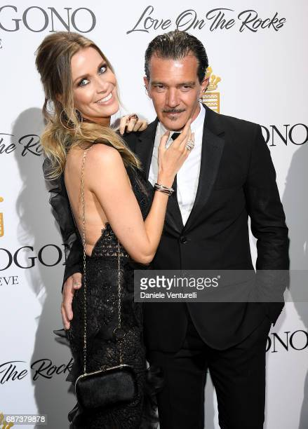 Antonio Banderas and Nicole Kempel attend the De Grisogono 'Love On The Rocks' party during the 70th annual Cannes Film Festival at Hotel du...