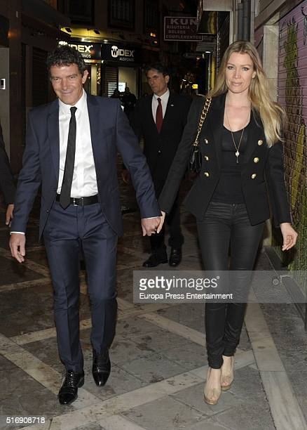 Antonio Banderas and Nicole Kimpel attend the lighted candles of Maria Santisima de Lagrimas y Favores Virgin during Holy Week celebration on March...