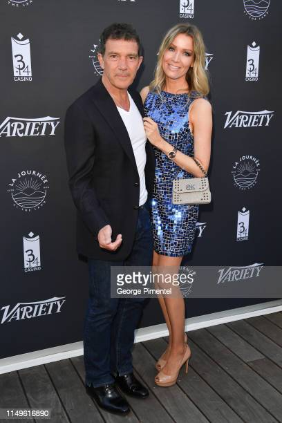 """Antonio Banderas and Nicole Kimpel attend the photocall for """"The Journey By The Land"""" during the 72nd annual Cannes Film Festival on May 16, 2019 in..."""
