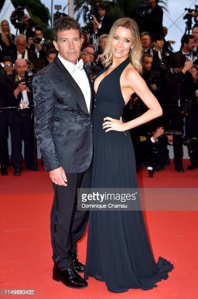 Antonio Banderas and Nicole Kimpel attend the screening of Pain And Glory during the 72nd annual Cannes Film Festival on May 17 2019 in Cannes France