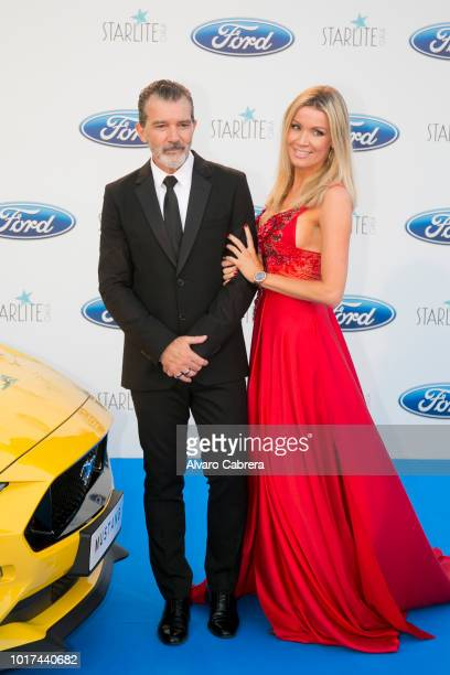 Antonio Banderas and Nicole Kimpel attend the Starlite Gala on August 11 2018 in Marbella Spain