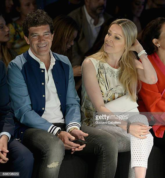 Antonio Banderas and Nicole Kimpel attends the Miami Fashion Week Day 3 Front Row And Backstage Highlights fron row during the show at Miami Fashion...