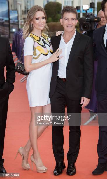 Antonio Banderas and Nicole Kimpel pose on the red carpet before the screening of the movie 'The Music Of Silence' during the 43rd Deauville American...