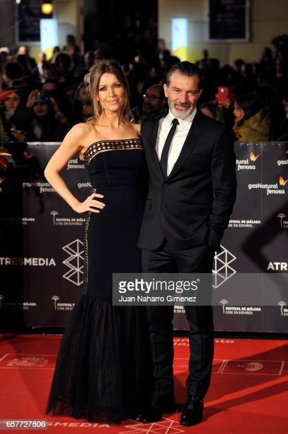 Antonio Banderas and Nikole Kimpel attend photocall during of the 20th Malaga Film Festival on March 25 2017 in Malaga Spain
