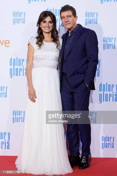 Antonio Banderas and Penelope Cruz attend 'Dolor y Gloria' premiere at the Capitol cinema on March 13 2019 in Madrid Spain