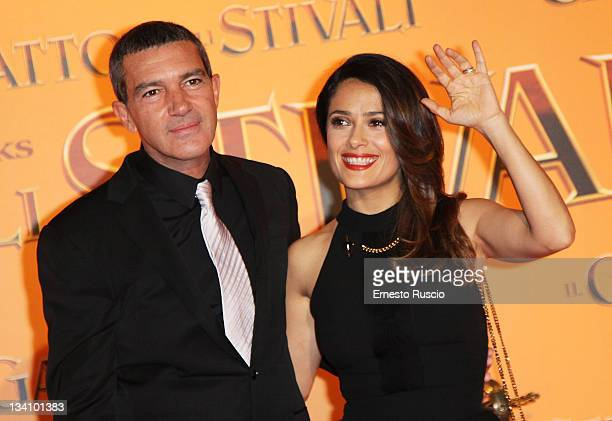 Antonio Banderas and Salma Hayek attend the 'Puss in Boots' premiere at Cinema UCI Porta Di Roma on November 25 2011 in Rome Italy