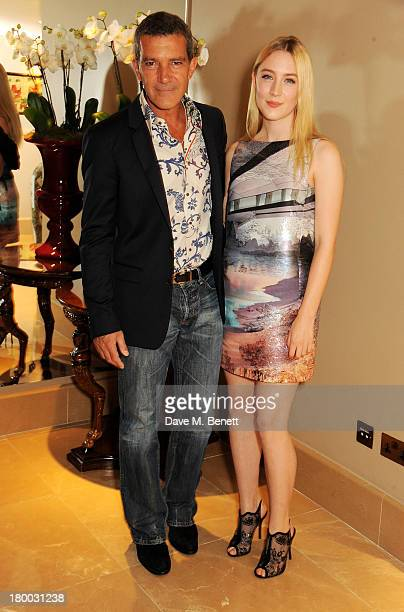 Antonio Banderas and Saoirse Ronan attend the UK Premiere of Justin and the Knights of Valour at The May Fair Hotel on September 8 2013 in London...