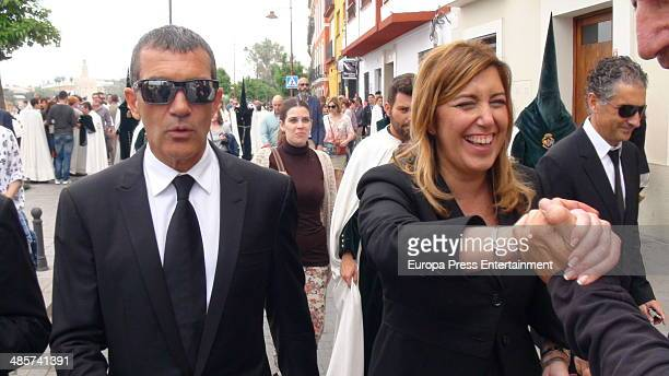Antonio Banderas and Susana Diaz attend procesion during Holy Week celebration on April 17 2014 in Seville Spain
