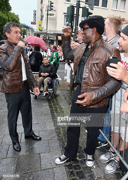 Antonio Banderas and Wesley Snipes attend the premiere of the film 'The Expendables 3' at Residenz Kino on August 6 2014 in Cologne Germany