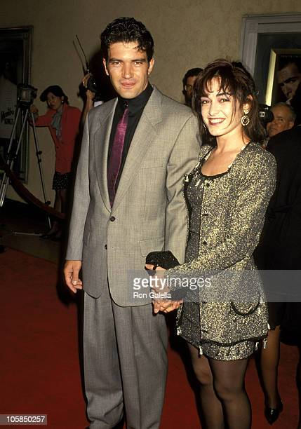 Antonio Banderas and Wife Ana Leza during Mambo Kings Los Angeles Premiere February 26 1992 at Mann's Bruin Theater in Westwood California United...